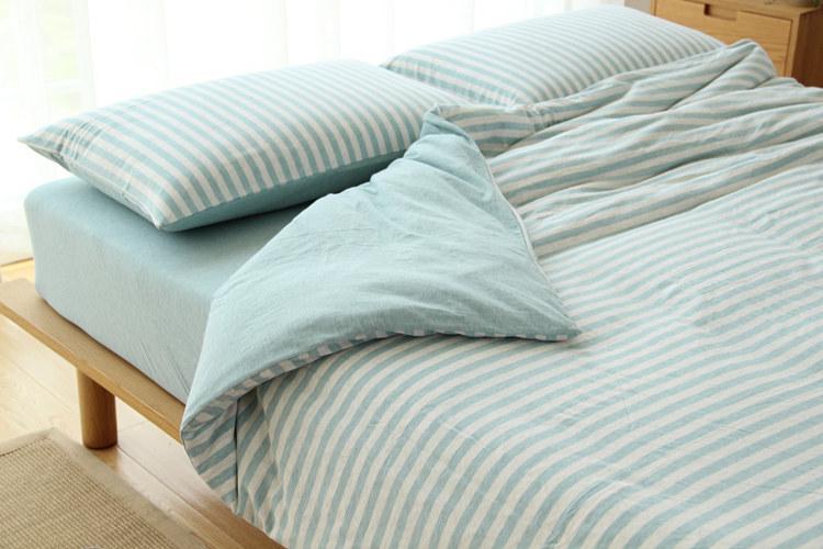 drap-housse et drap de lit hometextile ensemble de literie rayure en tissu kintted avec motifs de couleur unie decration simple