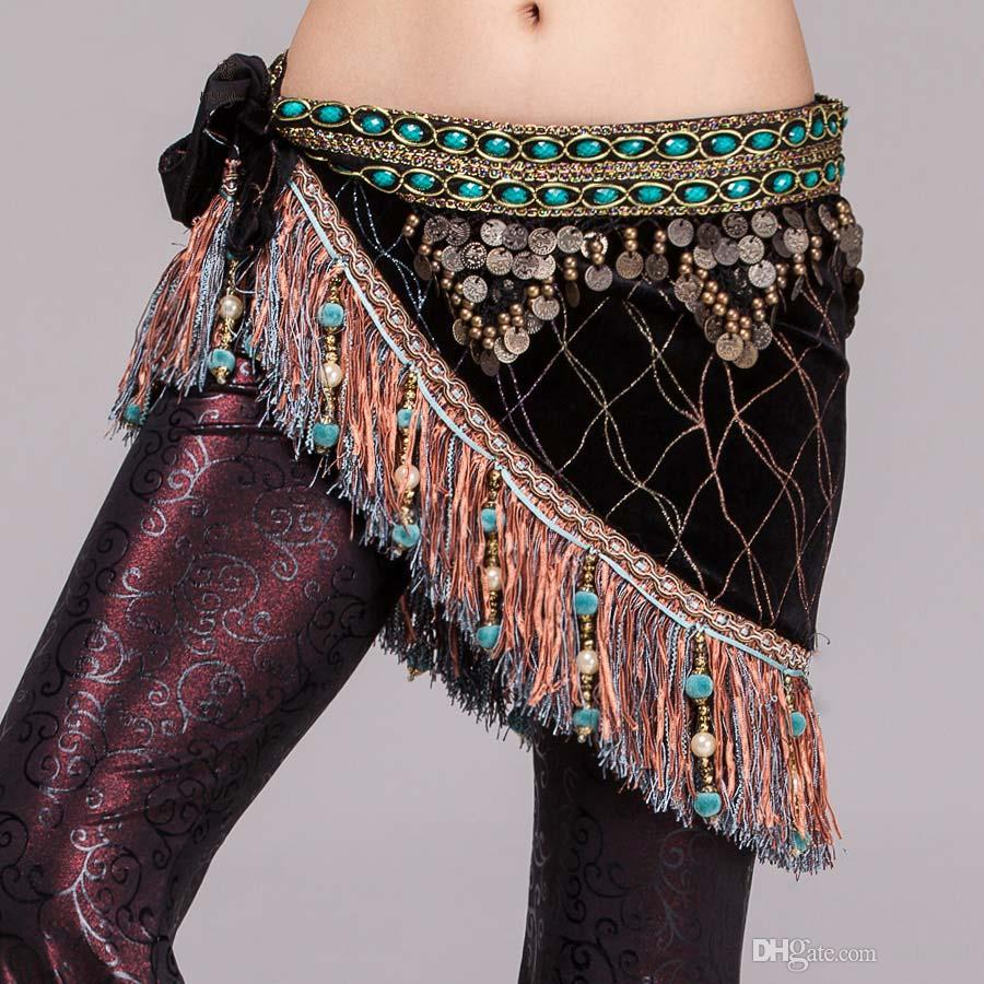 70dc65a09 2019 Women Belly Dance Clothes Velvet Half Circle Gypsy Costume Fringe Hip  Scarf With Coins Tribal Belly Dance Belt From Czhwwf, $19.99   DHgate.Com