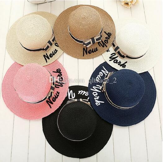 Protezione dal sole NEW YORK Lettere da ricamo Cappello a tesa larga cappello di paglia arco sole cappello da spiaggia protezione solare cappello da sole marea