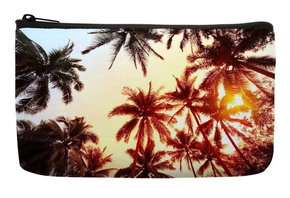 34c57b465 2019 Wholesale Summer Style Tropical Palm Coconut Trees Sunshine Print  Customized Small Cosmetic Bag Wristlet Makeup Bags From Vanilla13