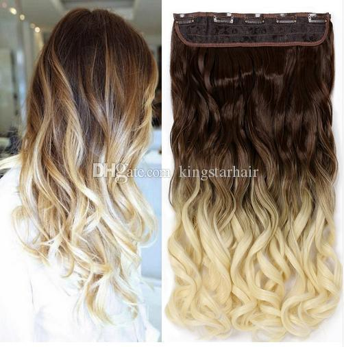 Kingstar 24   60cm Wavy 5clips One Piece Natural Brown Two Tone Ombre  Synthetic Hair Piece Clip In Hair Extensions For Women Keratin Bond Hair  Extensions ... f6c585d0d1