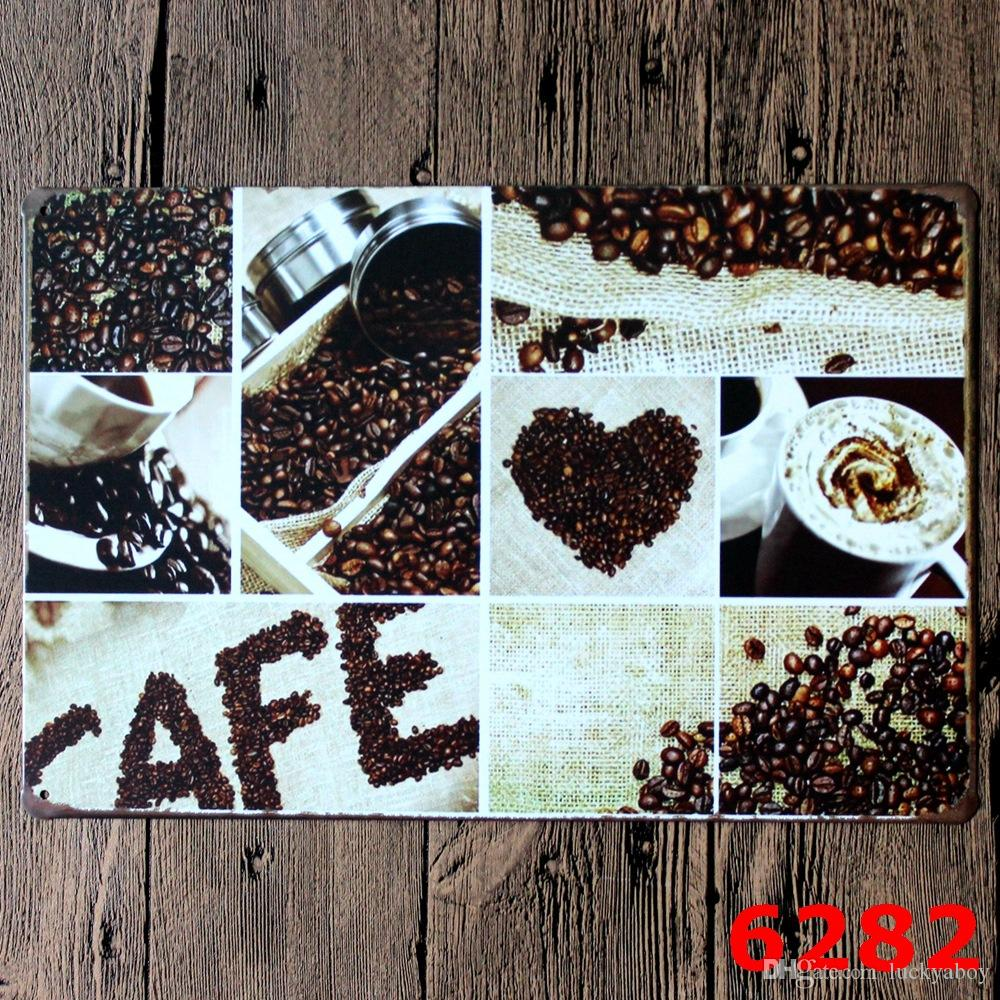 COFFEE CAFEE Nostalgic Ornaments Wall Decor Vintage Craft Art Iron Painting Tin Poster Cafe Shop Bar Home DecorateMixed designs