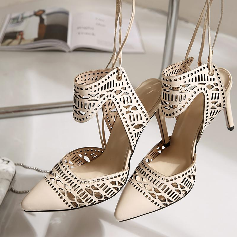 2017 summer ankle strap sexy cutout genuine leather pointed toe high heel stiletto heel women brand shoes party dress shoes Bohemia sandals