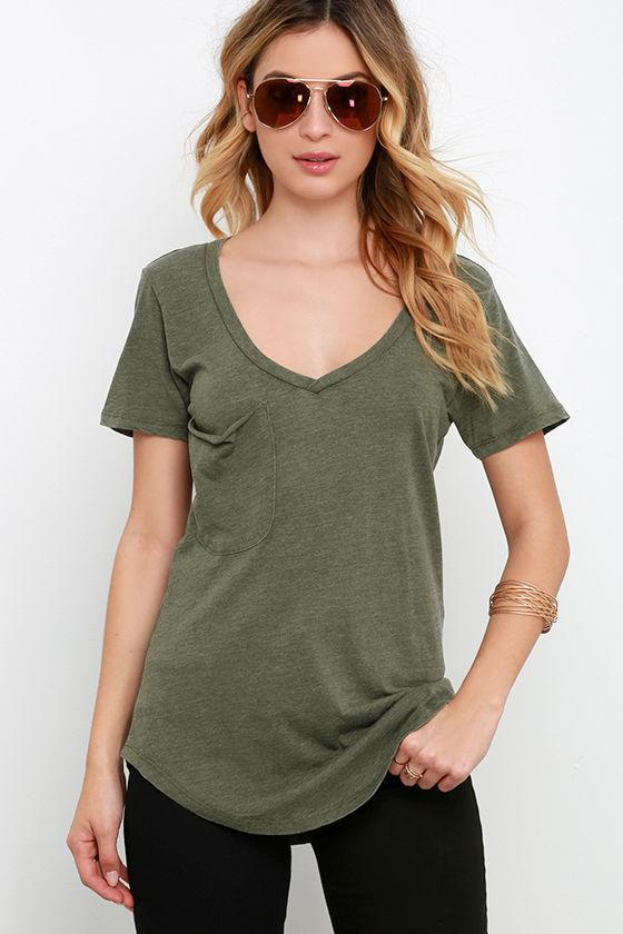 7200899e3 Wholesale Olive Green Tops PocketStyle Woman Relaxes In Bulk Summer V Neck  T Shirts Pure Short Sleeve Basic Tee Tees Design T Shirt Of The Day From  Buxue, ...