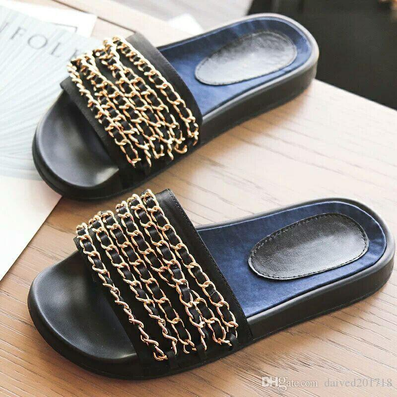 2017, the new big brand, European and American Style Slippers, women's shoes, metal chain decoration, soft soles, comfortable fashion trends