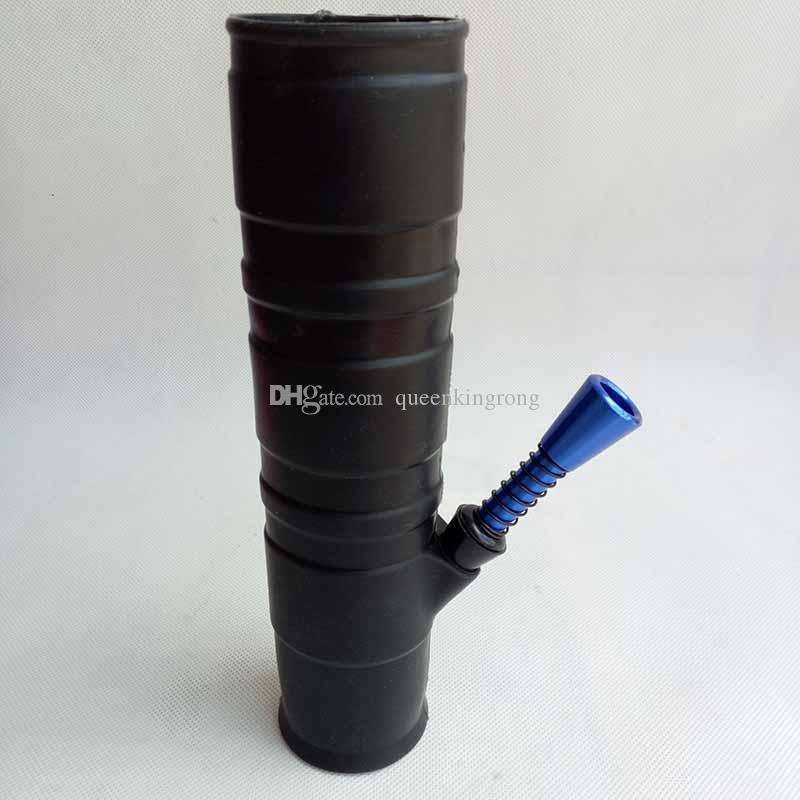 Portable narghilè acqua in silicone fumatori lavaggio Herb Unbreakable Acqua Percolator Bong Olio Concentrato in legno metallo tubo di plastica