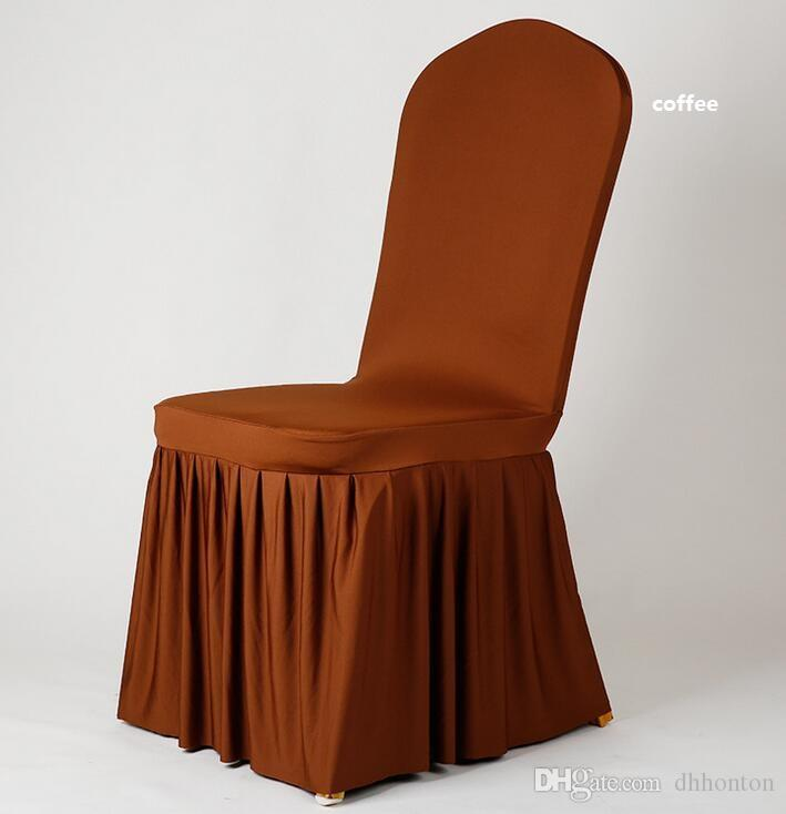 Wedding Banquet Chair cover High Quality Chair skirt Protector Slipcover Decor Pleated Skirt Style Chair Covers Elastic Spandex WT056
