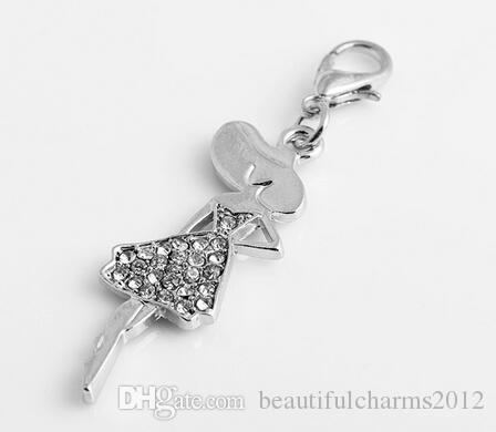 20st / silverpläterade rhinestones flicka flytande hängande charmar med hummerlås passform för kedjan locket halsband armband