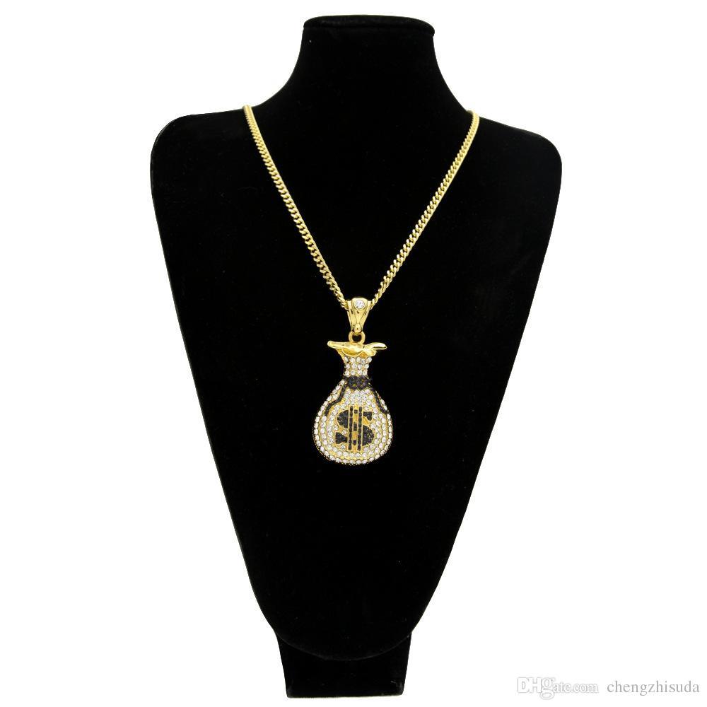 Hip Hop Gold Silver Cash Money Bag Pendant For Men Women Bling Crystal Dollar Charm Necklace Long Cuban Chain Jewelry