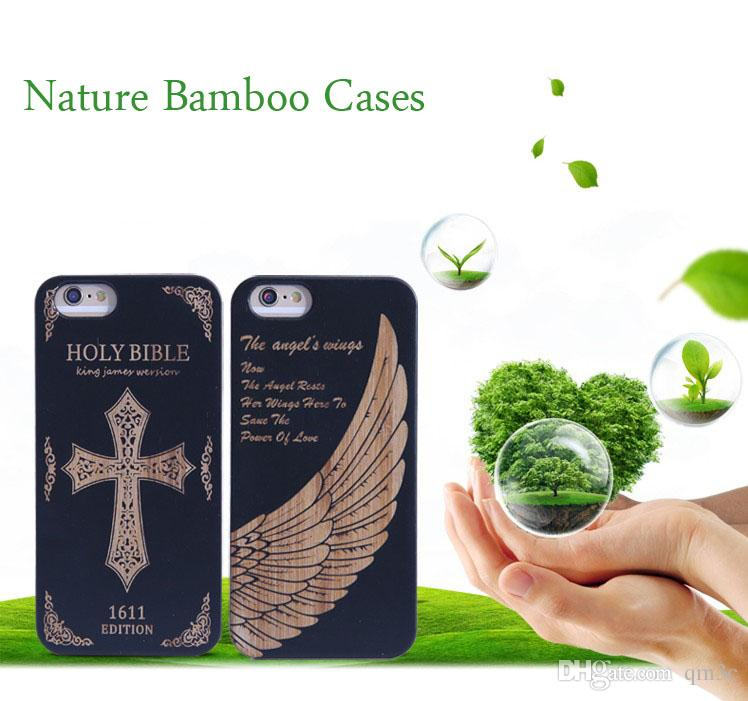 Factory Wholesale Black Bamboo Wood Cell phone Case For Iphone 5 5s 6 6s plus 7 Wooden Hard Cover For Samsung Accessory