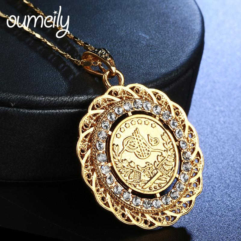 Wholesale Oumeily Turkish Jewelry Necklace Arab Coin For Women