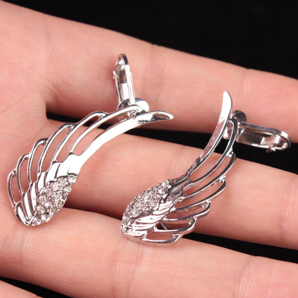 Pendientes new fashion punk strass orecchini a clip le donne angelo ala oro orecchino polsino dell'orecchio brincos gioielli può pi