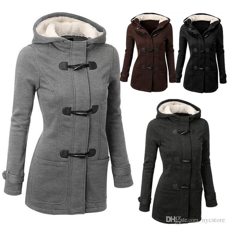 2018 Winter Warm Womens Claw Clasp Wool Blended Classic Pea Coat ...