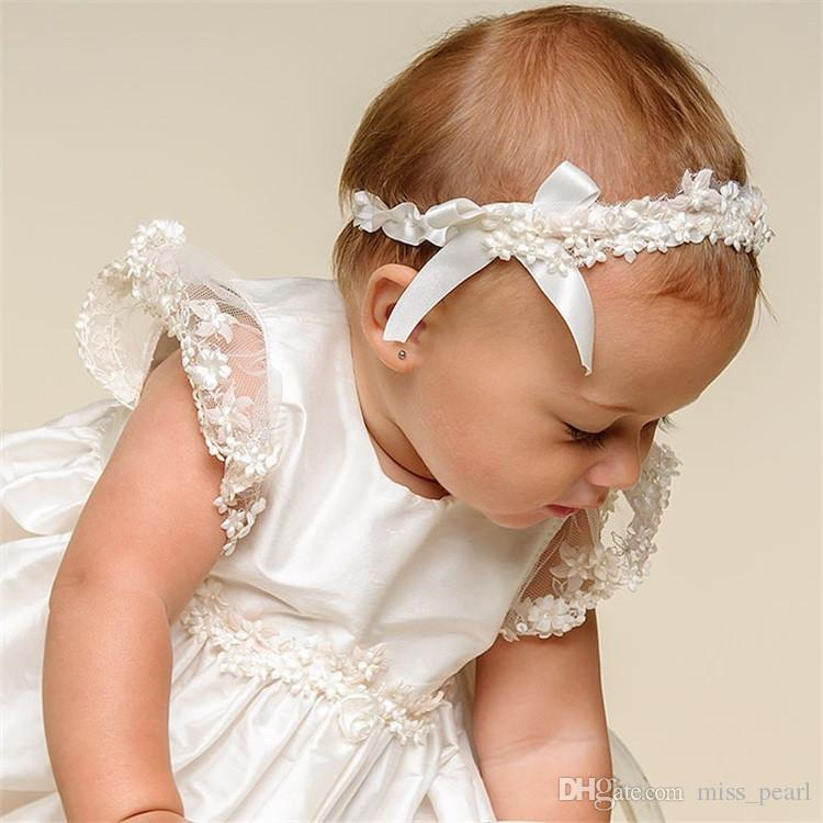 Princess Baby Girls First Communion Dresses with Headband Vestidos Lace Baby Girl Birthday Dress for Newborn Baptism