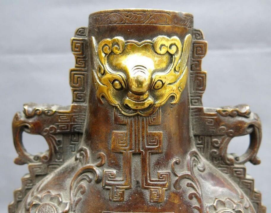 "11"" China bronze gild carved beautiful blessing longevity dragon Vase Statue"