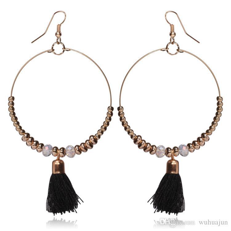 Women Hoop Earrings Big Ball Pompom Tassel Pendant Earrings Girls Beads Earrings Simple Fashion Jewelry