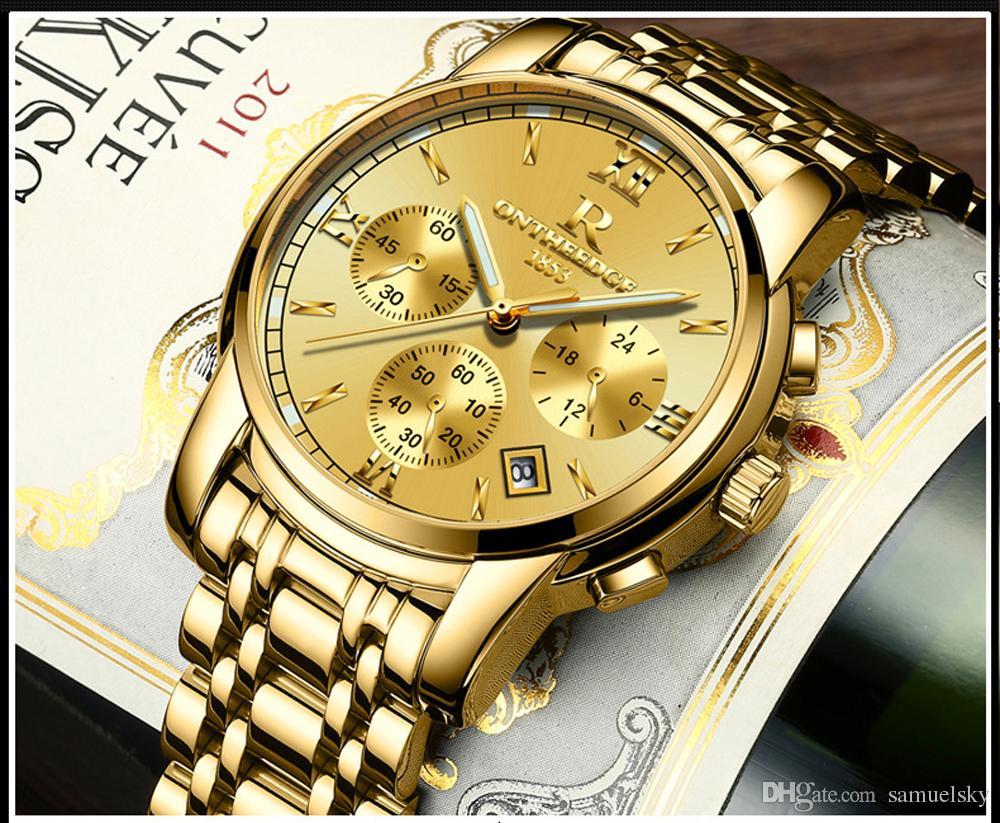 478d192efe3 Compre Homem De Relógio De Pulso De Ouro Amarelo Clássico Top Marca De Luxo  Em Aço Inoxidável 24 Horas Data De Exibição De Quartzo Homens Relógios De  Moda ...