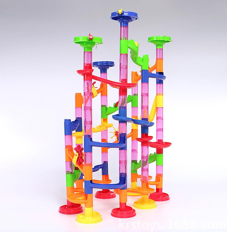 105pcs DIY Construction Marble Race Run Maze Balls Track plastic house Building Blocks toys for Kids christmas birthday gift