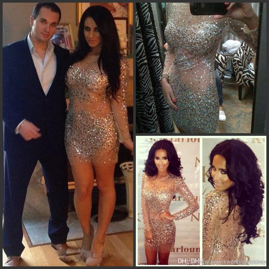 Kim Kardashian Nude Crystals Cocktail Dresses With Long Sleeves 2017 ...