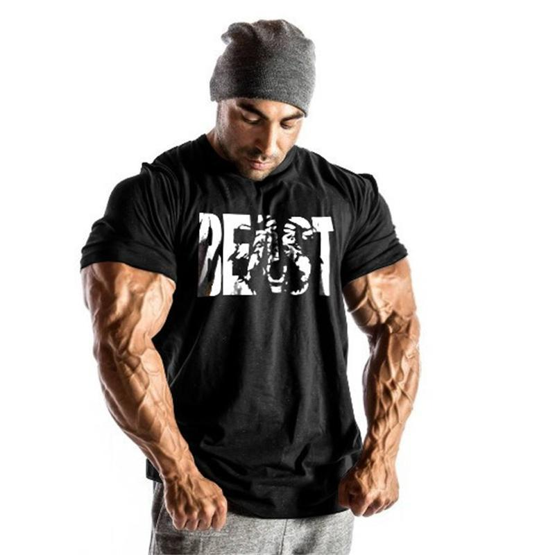 154b14ee09e Wholesale Gyms Men S Beast T Shirts Cotton Short Sleeve Bodybuilding Tops Workout  Fitness Clothes Gyms Clothing Muscle Clothes Humorous T Shirt Cool And ...