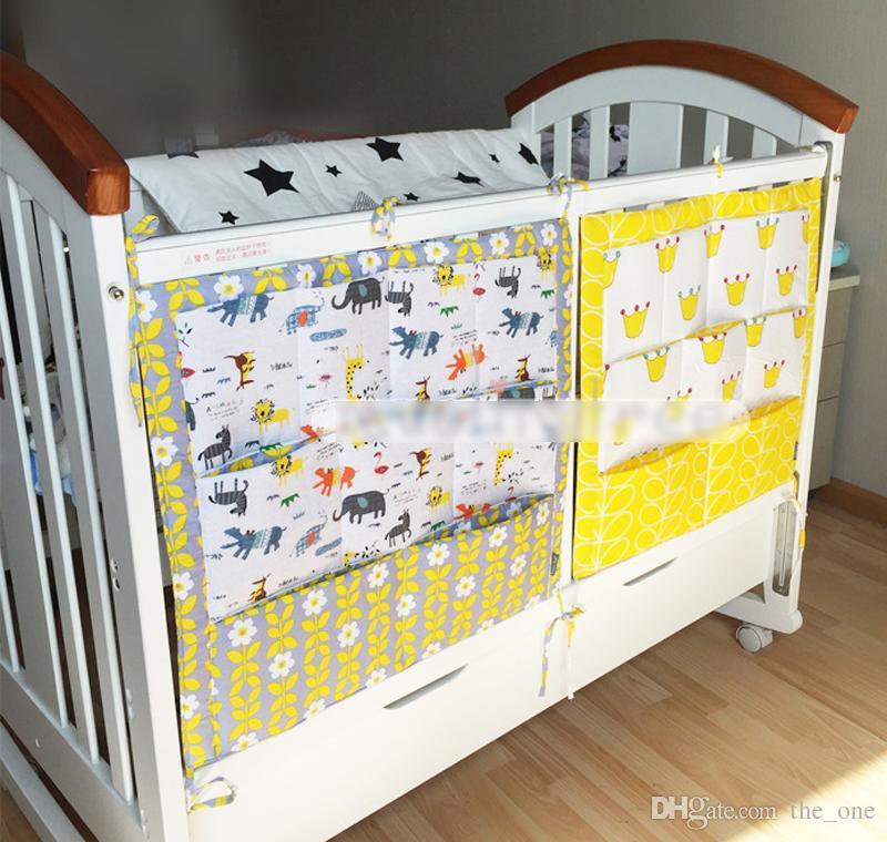 Saco De Armazenamento Berço Do Bebê Sacos De Armazenamento De Algodão Fraldas Sacos De Armazenamento Dobrável Para O Bebê Infantil bonito impressão Pendurado frete grátis em estoque