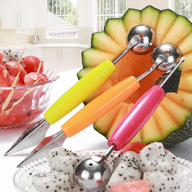 Creative Home Stainless Steel Multi-function Dig Ball Devices Cut Fruit Watermelon Melon Scoops & Ballers Cooking Tools Multi TT349