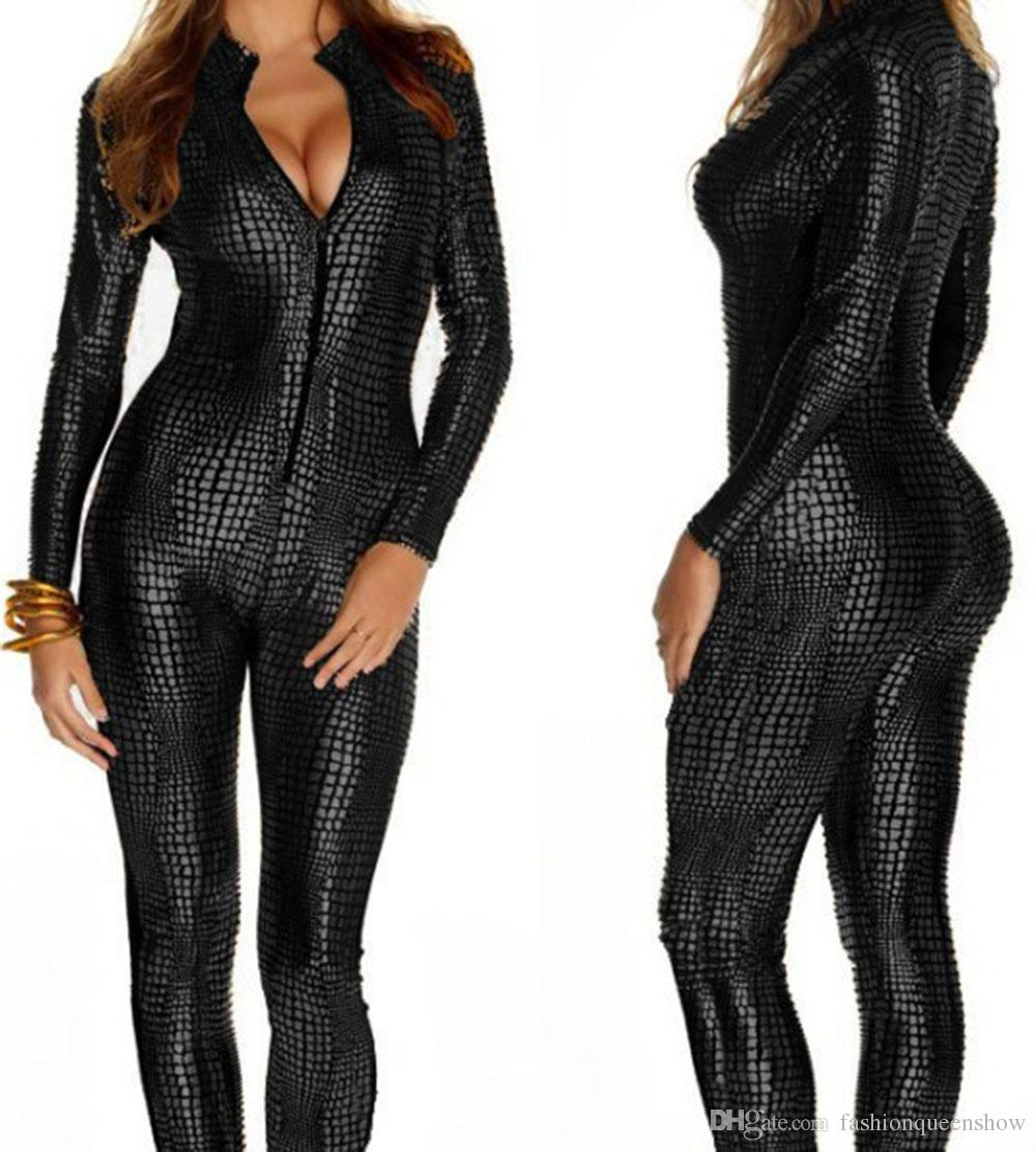Novelty Snakeskin Costume Ladies Sexy Faux Leather Catsuit Game Cosplay Gothic Zipper Up Jumpsuit Girl Nightclub Dancing Clothes