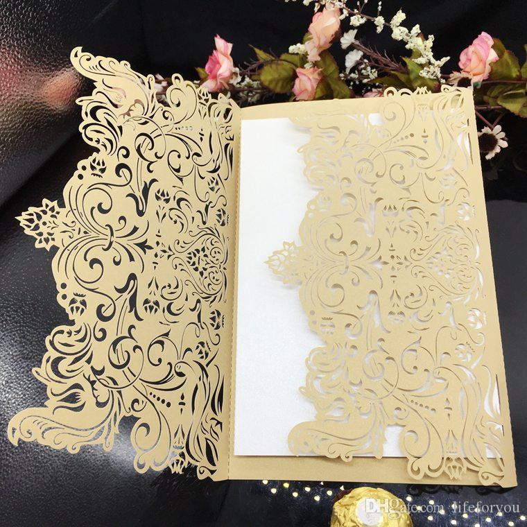 Wedding favor party favors Wedding Invitation Card Laser Cut Hollow Blank Inside With Envelope Wedding Invitations Cards
