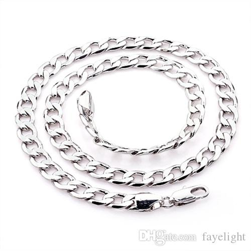 Real 24k white gold filled men's fashion necklace curb chain 8mm link 32G  size: 22 inches, color: silver