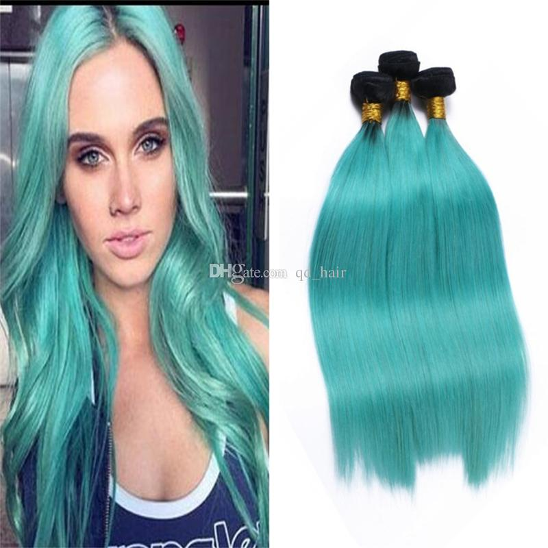 Cheap dark roots 1b green human hair extension ombre two tone cheap dark roots 1b green human hair extension ombre two tone color baby green silky straight hair 3 bundles 10 30 inch remy hair weft remy hair wefts from pmusecretfo Gallery