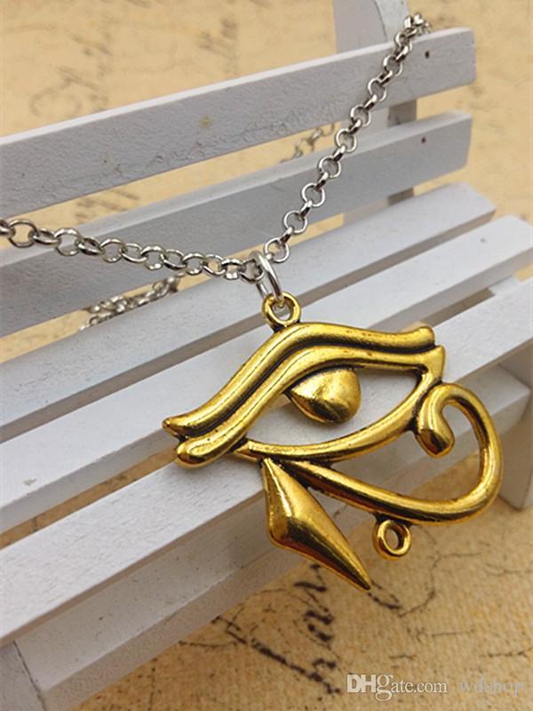 Großhandels-Weinlese 18 Zoll Gold Silber ägyptischen Halskette Auge von Horus ägyptischen Schmuck mit 37 * 40MM Hieroglyphe Charm