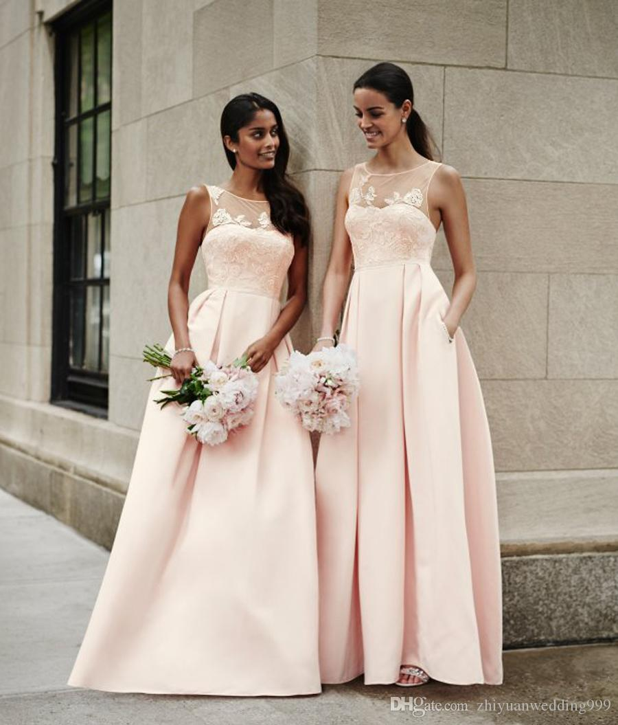 Pink satin lace bridesmaid dresses 2018 a line skirt v neck formal pink satin lace bridesmaid dresses 2018 a line skirt v neck formal party dresses for wedding guest alfred sung bridesmaid dresses baby blue bridesmaid ombrellifo Images