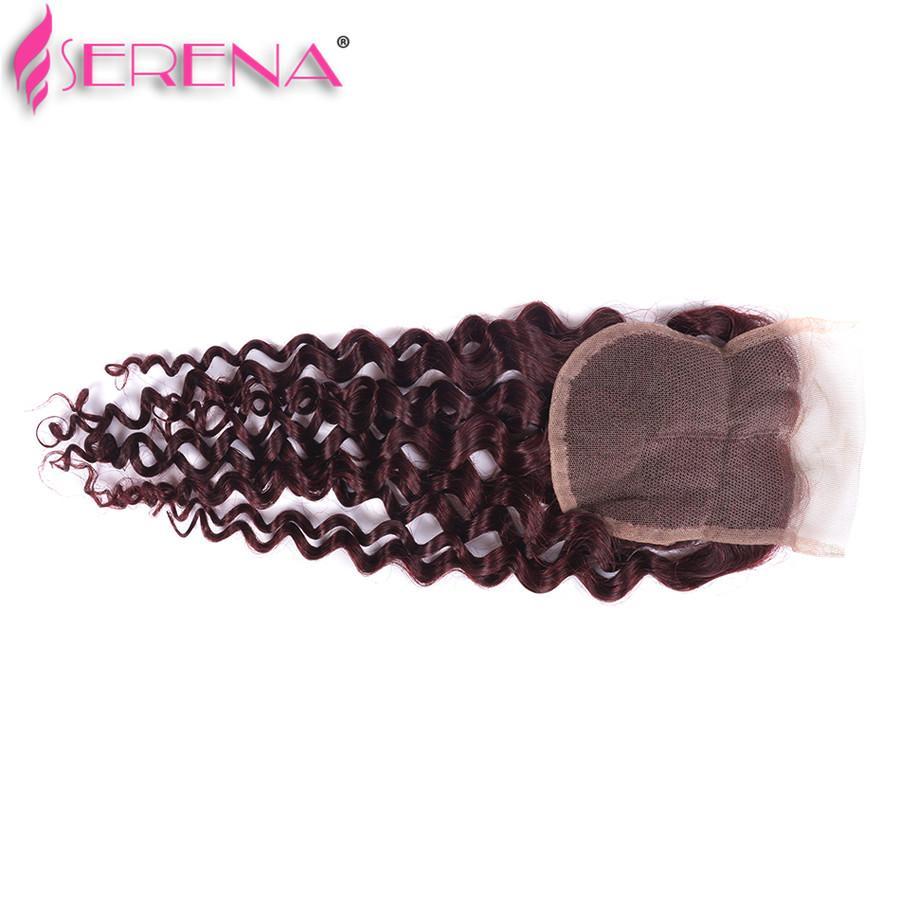 Burgundy indian deep wave with closure Loose Wave Virgin Hair Curly Deep Ocean Wave 99j Human Hair Weave Wet And Wavy 3 Bundles