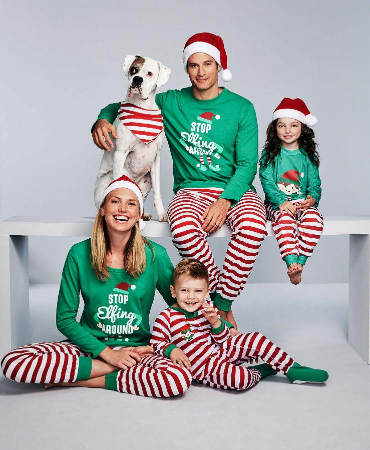 c95423defe11 Family Matching Christmas STOP Elfing AROUND Letters Print Pajamas ...
