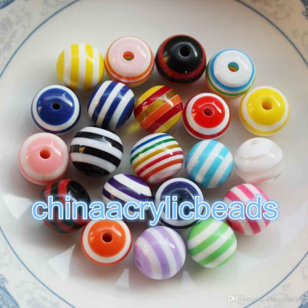 Wholesale 12MM Resin Round Rainbow Striped Beads Stripe Gumball Beads Bubble Gum Beads Charms For Jewelry Making