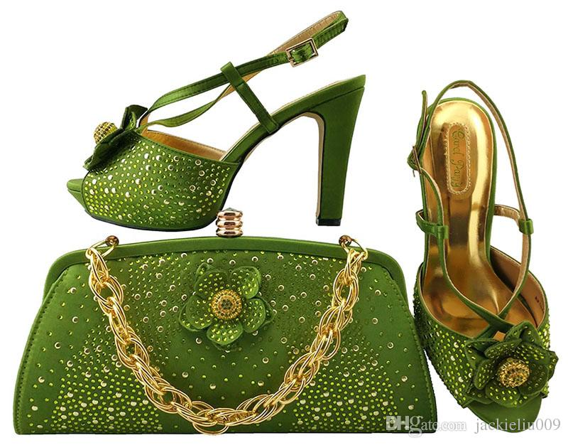 Most Popular Lemon Green Shoes Match Bags Series with Rhinestones ... d2484b994998