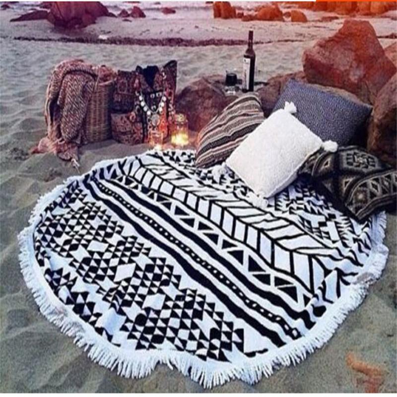 New Beach Mandala Indian Round Cover Up Beach Towel Mat Shawl Yoga Mat Summer Leer Sarong Cloak Bathing Suit
