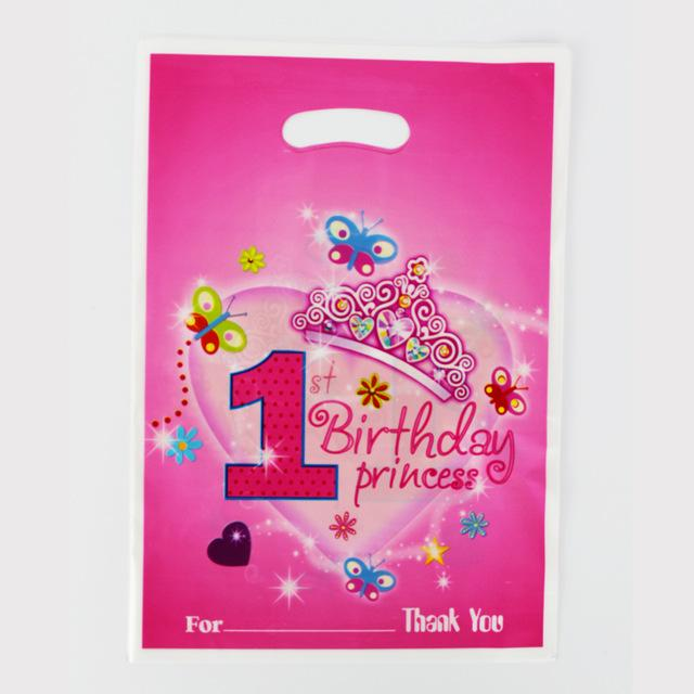 Wholesale 12pcs Loot Bag For Kids Birthday Festival Party Decoration 1st Pretty Girl Theme Party Supplies Candy Bag Shopping Gift Bag