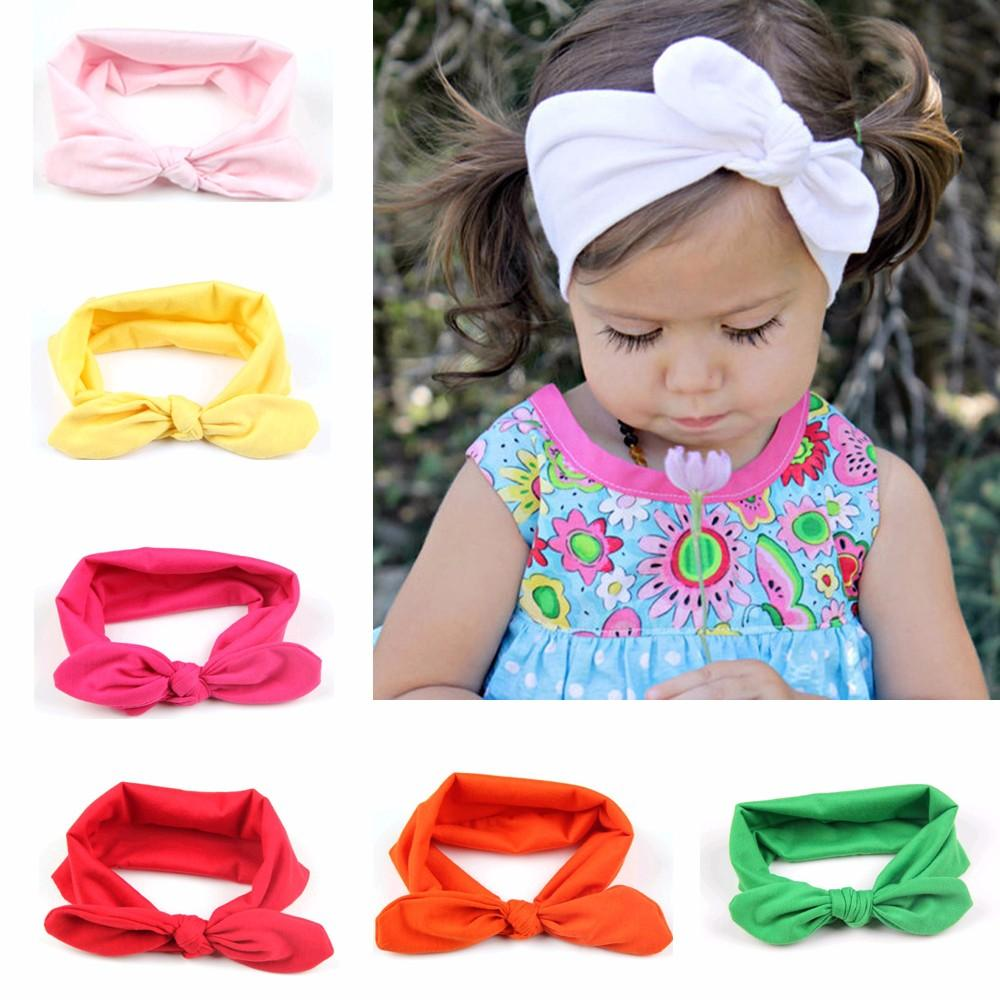 c3cd4dd380bc 2019 New Hot Fashion Baby Girl Headbands Cute Rabbit Ears Bow Hair Bands  Baby Cloth Headband Bowknot Headwear From Echoking