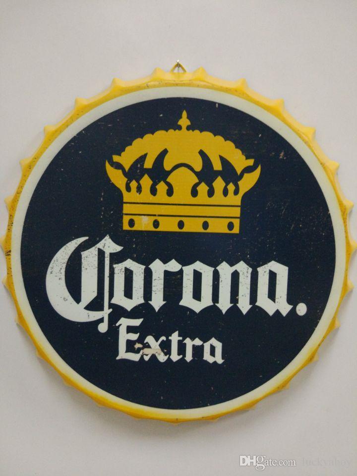 2018 Corona Extra Vintage Round Tin Sign Bottle Cap Design Beer Cap