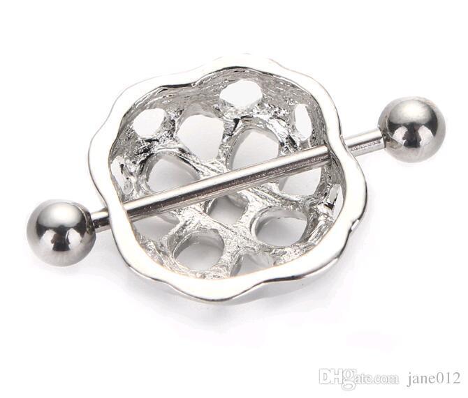 Einfache hohle Nippel-Schild-Abdeckungs-Ring-Kugel Barbells 316L chirurgischer Edelstahl-Piercing-Nippel-Klipp-Ketten auf Verkauf