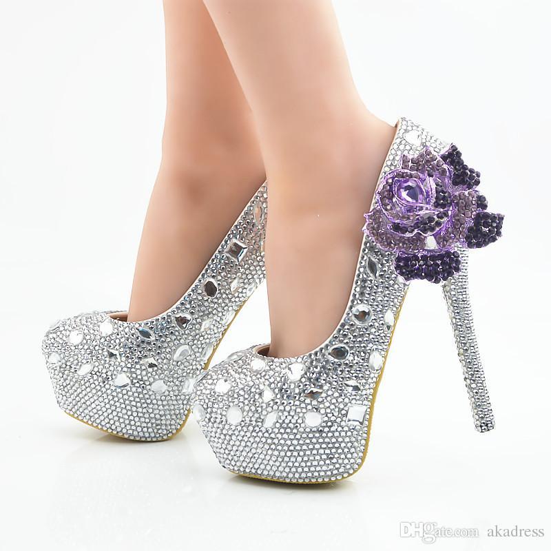 Compre Zapatos De Boda Elegantes De Plata De Los Tacones Altos ...