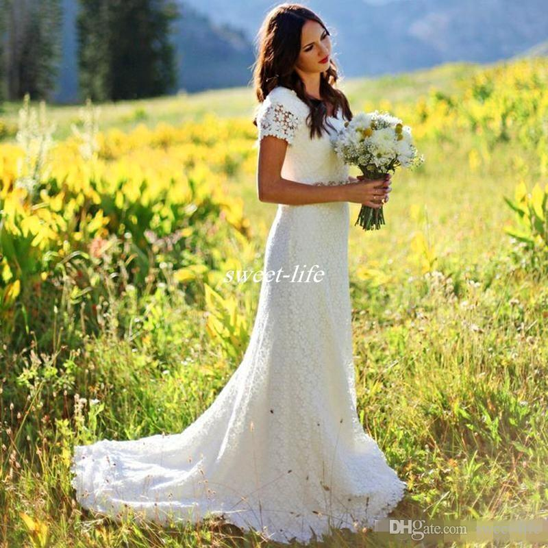 Cap Sleeves Vintage White Lace Bohemian Country Wedding Dresses 2019 Sheer Mermaid Cheap Bridal Gowns Modest Beach Bride Dress Beaded Belt