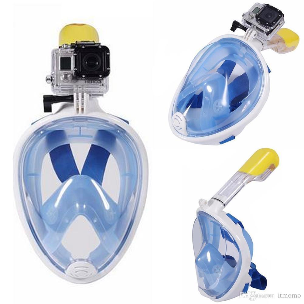dc6498d28 Compre Máscara De Buceo Bajo El Agua Snorkel Set Entrenamiento De Natación  Scuba Mergulho Cara Completa Máscara De Snorkel Anti Niebla Para Cámara  Gopro A ...