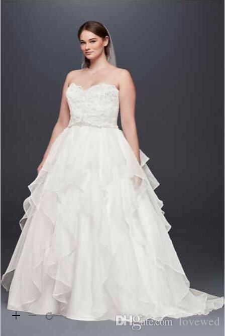 2017 Plus Size Ball Gowns Wedding Dresses With Beaded Applique