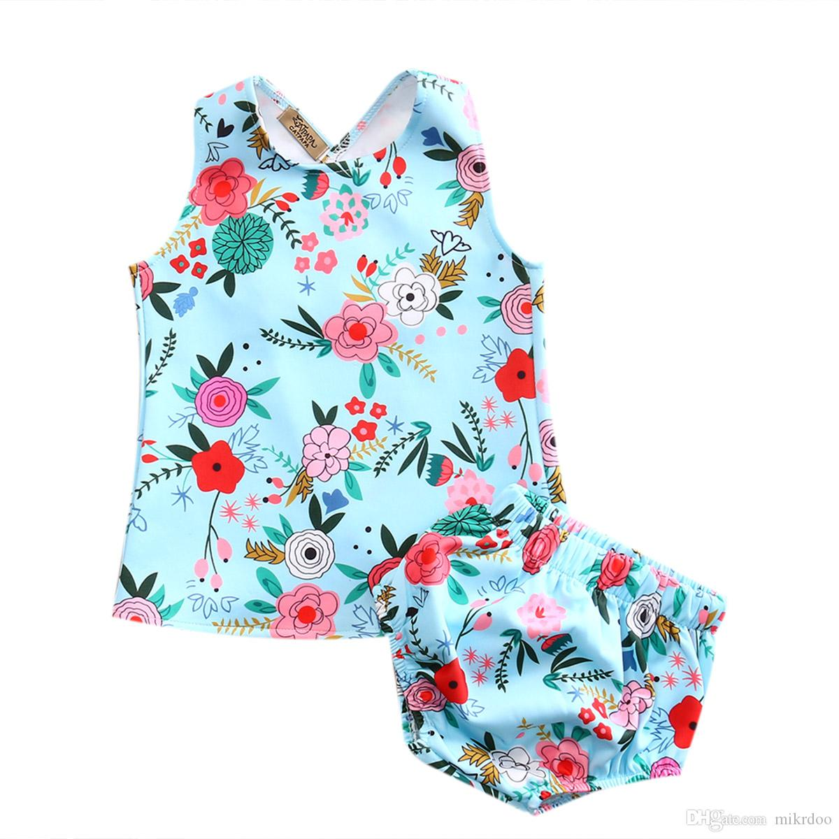 Mikrdoo Summer Hot Baby Suit Flower Toddler Kids Girls Floral Vest Pants Set Tank Top Bottom Cotton Clothes Fashion Outfits Wholesale