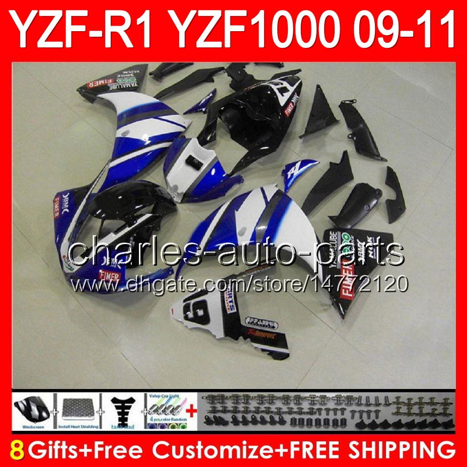 gloss blue 8gifts Body For YAMAHA YZFR1 09 10 11 YZF-R1 09-11 95NO91 YZF 1000 YZF R 1 YZF1000 YZF R1 2009 2010 2011 TOP blue black Fairing