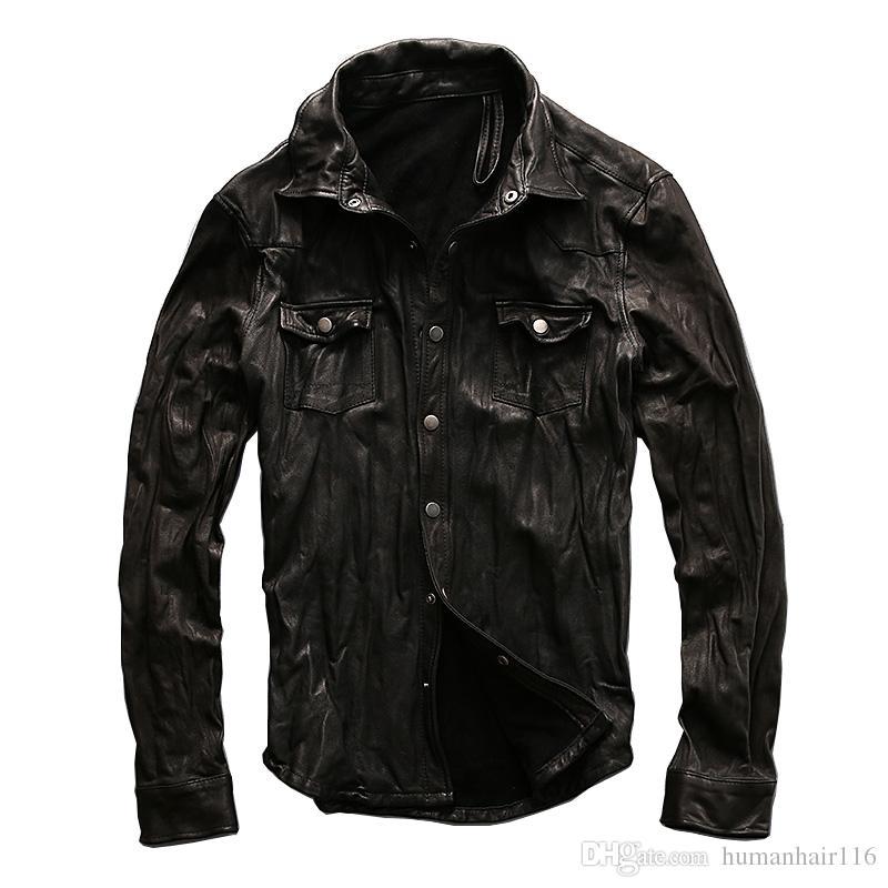 2018 2017 New Men Motorcycle Leather Shirt Jacket Black Plus Size ...