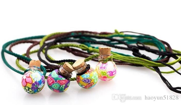 Pode abrir cortiça lampwork pingentes de vidro aromaterapia pingente colares de jóias frasco de perfume pingentes garrafa de óleo essencial difusor colar