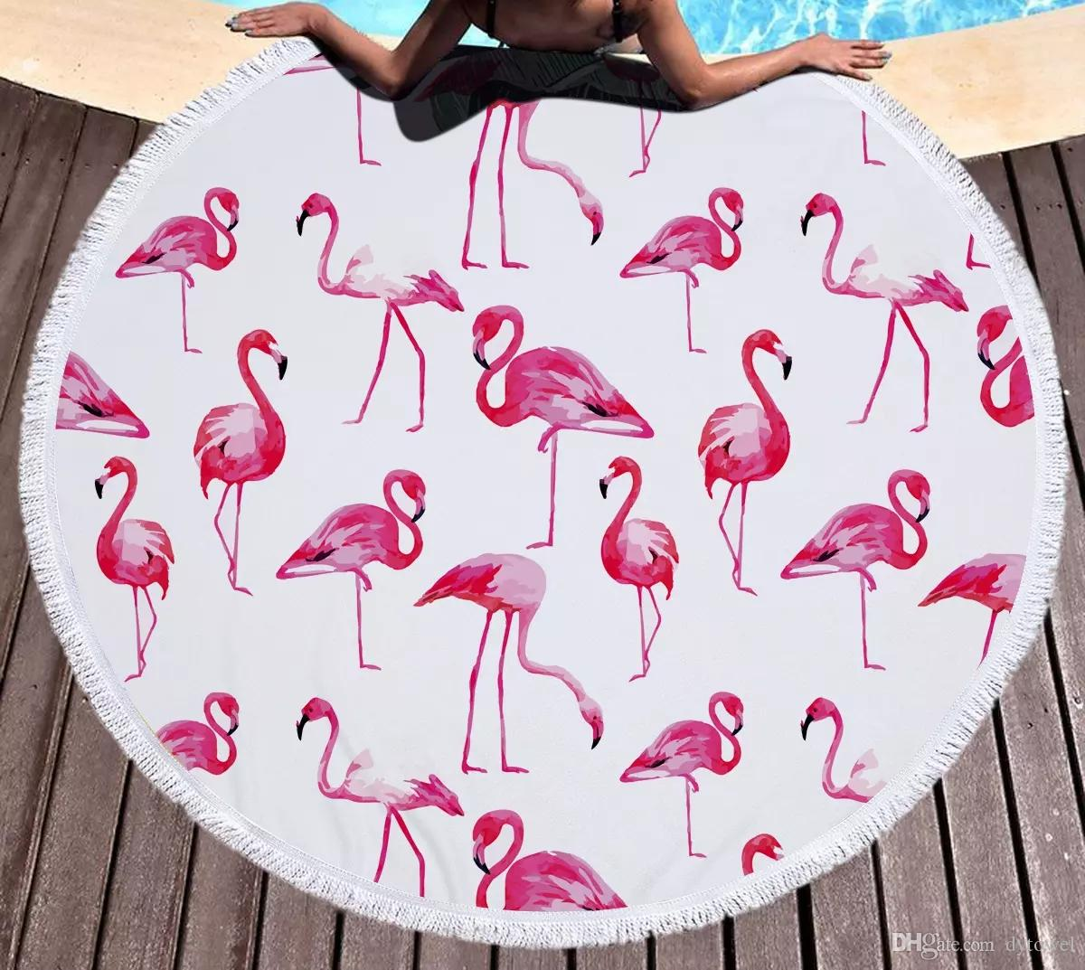 Wholesale Flamingo Microfiber Round Beach Towel Mandala Big Beach ...